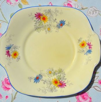Crown Staffordshire Cream Floral Hand Painted Vintage Cake Plate c.1930's