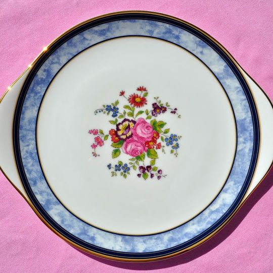 Royal Doulton Centennial Rose Pattern Earred Cake Plate - New