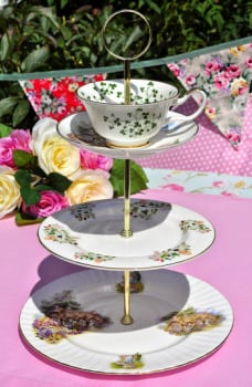 Country Cottage Mismatched China Teacup Top 3 Tier Cake Stand