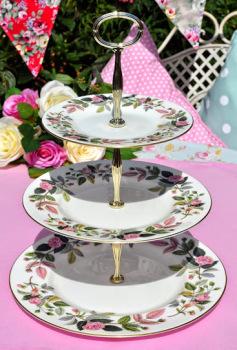 Wedgwood Hathaway Rose Bone China Vintage 3 Tier Cake Stand