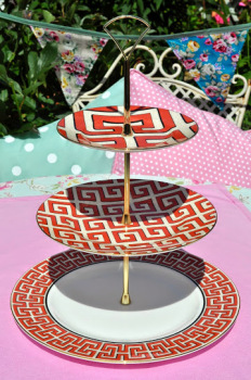 Wedgwood Dynasty Greek Key Accent Bone China 3 Tier Cake Stand