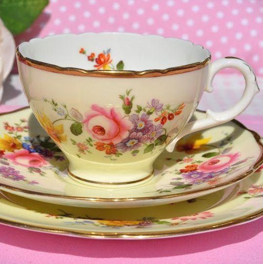 Cauldon China Cream Floral Vintage Teacup, Saucer and Tea Plate
