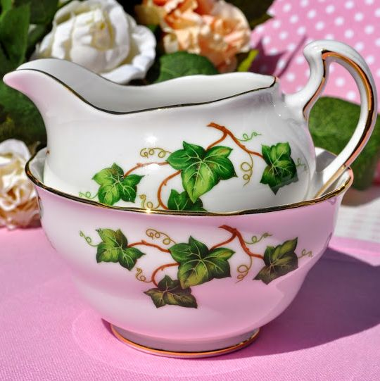 Colclough Green Ivy Leaf Vintage Milk Jug and Sugar Bowl