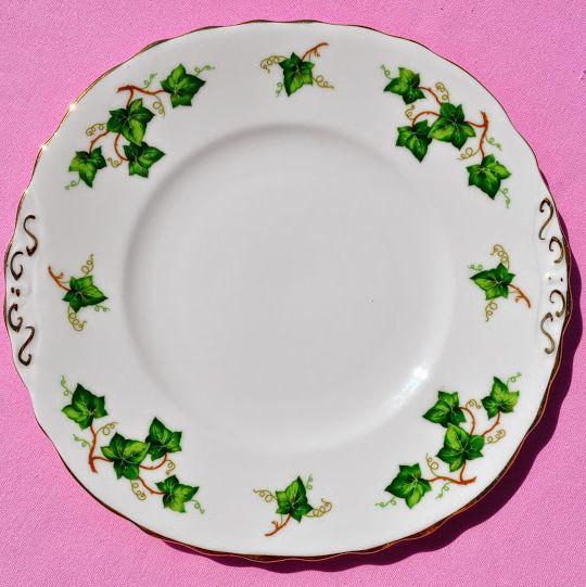 Colclough Green Ivy Leaf Bone China Vintage Cake Plate