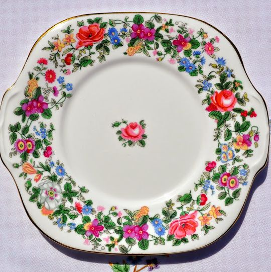 Crown Staffordshire Thousand Flowers Fine Bone China Vintage Cake Plate