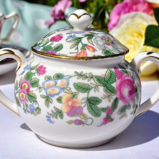 Crown Staffordshire Thousand Flowers Sugar Bowl with Lid