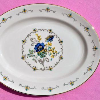 Argyle Blue Floral Large Serving Platter c.1950's