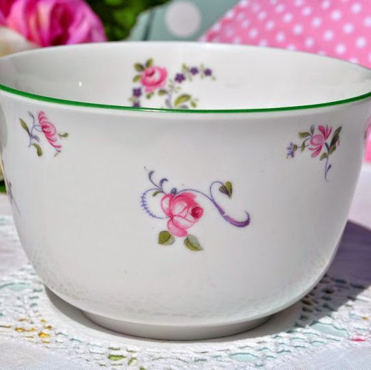 Grosvenor China Vintage Green Rim and Pink Roses Sugar Bowl or Sweetie Dish