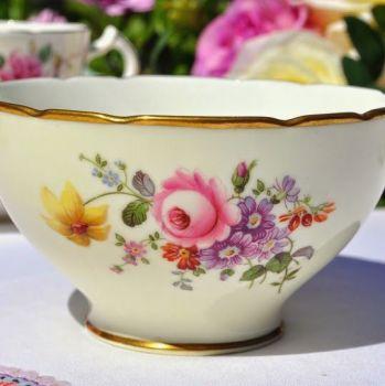 Cauldon China Cream Floral Vintage Sugar Bowl