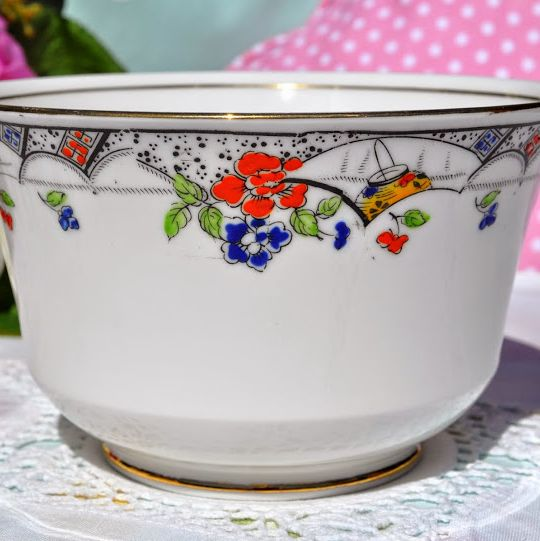 Duchess China Art Nouveau Hand Enamelled Large Sugar Bowl c.1910+