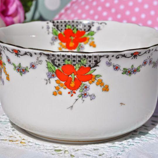 Taylor and Kent Art Nouveau Hand Enamelled Large Sugar Bowl c.1912+