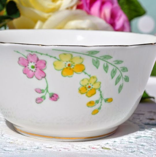 Plant Tuscan Pink and Yellow Floral Vintage China Sugar Bowl c.1936+