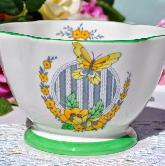 Windsor China Yellow Butterfly Green Rim Sugar Bowl c.1930's
