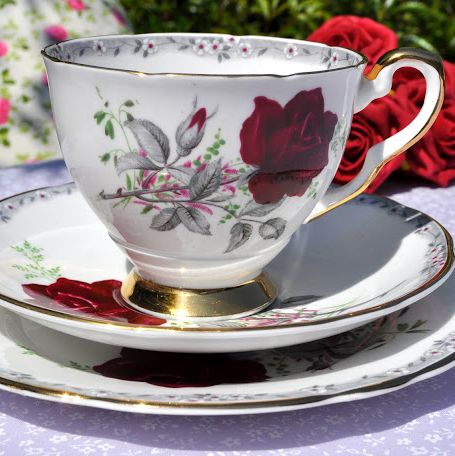 Royal Stafford 'Roses To Remember' Vintage Teacup, Saucer and Tea Plate Tri