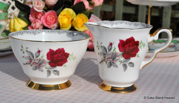 Royal Stafford Roses to Remember Vintage China Milk Jug and Sugar Bowl c.1950's
