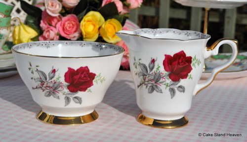 Royal Stafford Roses to Remember Vintage China Milk Jug and Sugar Bowl