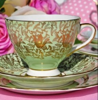 Gladstone Green and Gold Filigree Teacup Trio c.1940's