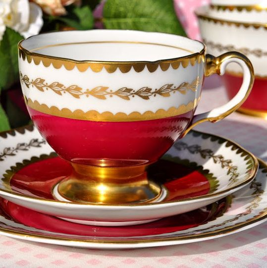 Salisbury Ruby and Gold Vintage Teacup, Saucer and Tea Plate Trio