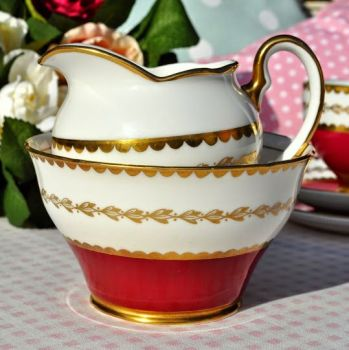 Salisbury Ruby Red and Gold Vintage Cream Jug and Sugar Bowl