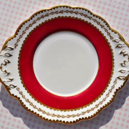 Salisbury Ruby Red and Gold Vintage Cake Plate