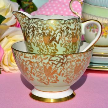 Gladstone Green and Gold Filigree Vintage Milk Jug and Sugar Bowl c.1940's