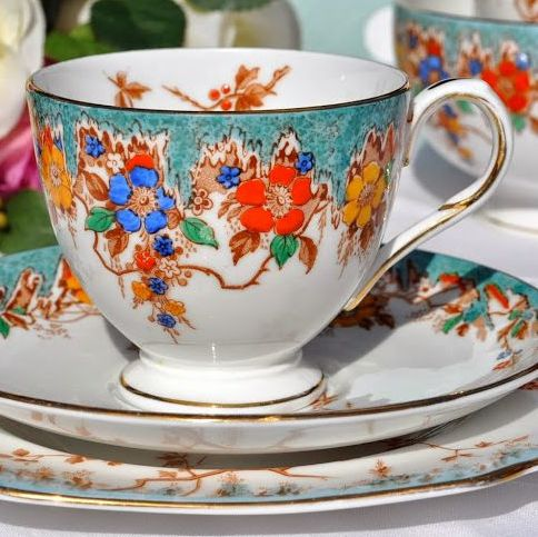 Duchess China Turquoise Floral Hand Painted Vintage Teacup Trio