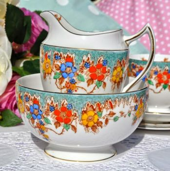 Duchess China Turquoise Floral Hand Painted Vintage Jug and Sugar Bowl c.1910-33