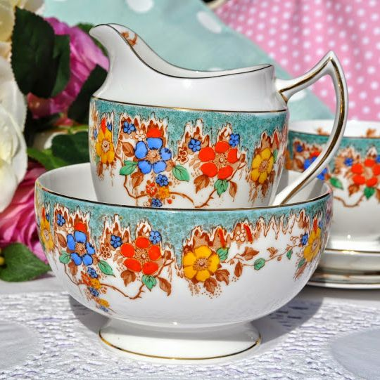 Duchess China Turquoise Floral Hand Painted Vintage Jug and Sugar Bowl