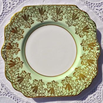 Gladstone Pale Green and Gold Filigree Vintage Cake Plate