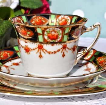 Roslyn Imari Style Lime Green, Terracotta and Gold Vintage China Teacup Trio c.1924+