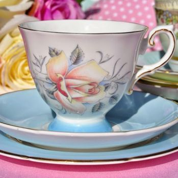 Royal Grafton Mayfair Powder Blue and Peach Rose Vintage Tea Trio