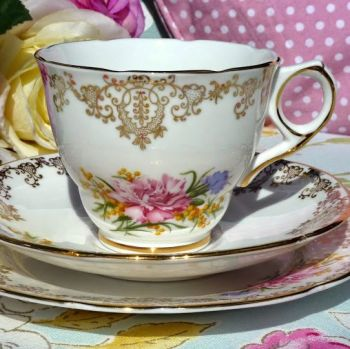 Royal Stafford Pink Carnation and Gold Vintage Teacup, Saucer and Tea Plate