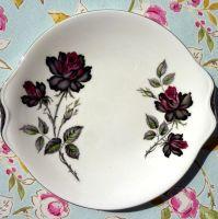 Royal Albert Masquerade Platinum Rim Cake Plate c.1950's