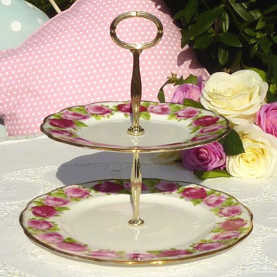Royal Albert Old English Rose Two-Tiered Vintage Cake Stand