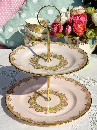 Tuscan Fine Bone China Pink and Gold Two-Tiered Vintage Cake Stand