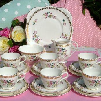 Royal Grafton Vintage Fine English China Floral and Gold Tea Set