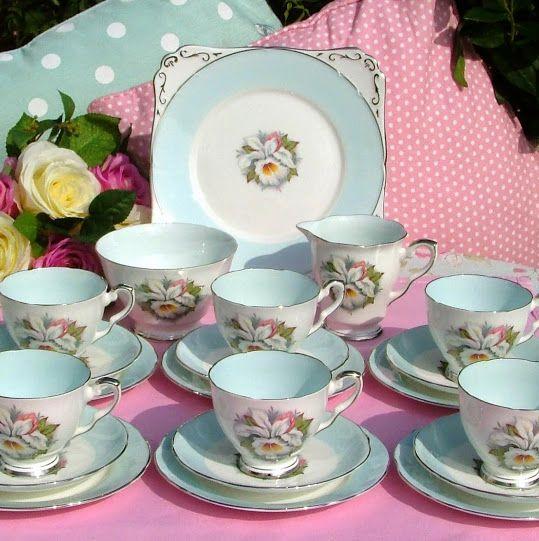 Royal Stafford White Lady Bone China Vintage Tea Set c.1950's
