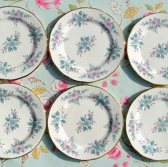 Colclough Coppelia Vintage Pastel Blue and Pink Tea Plates Set of Six