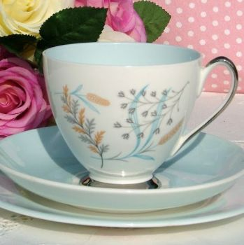 Queen Anne Glade Pale Blue and Platinum Vintage Teacup Trio