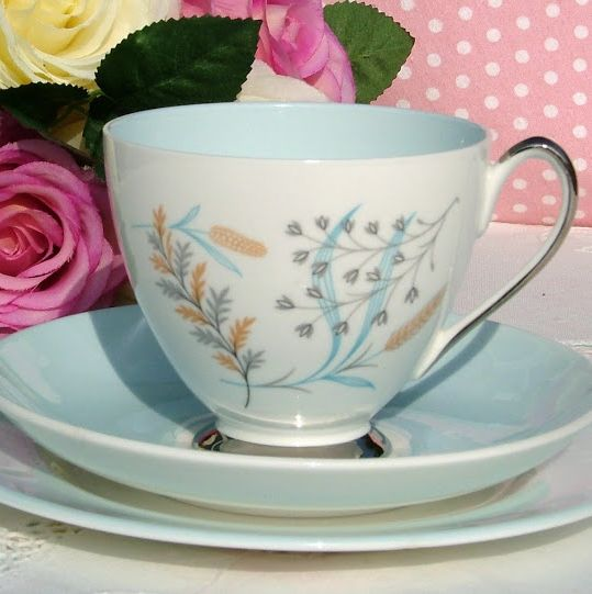 Queen Anne Glade Pale Blue and Platinum Vintage Teacup, Saucer and Tea Plat
