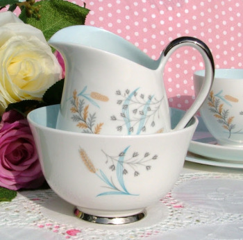 Queen Anne Glade Pale Blue and Platinum Vintage Milk Jug and Sugar Bowl