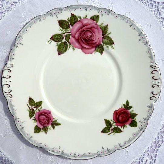 Taylor and Kent Pink Rose Pattern Vintage Cake Plate