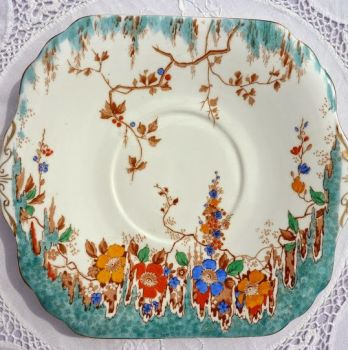 Duchess China Turquoise Floral Hand Painted Vintage Art Deco Cake Plate