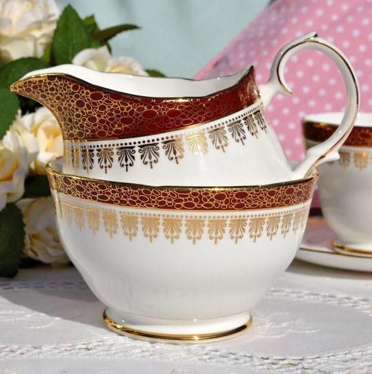 Duchess Winchester Red and Gold Bone China Vintage Milk Jug and Sugar Bowl