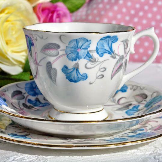 Royal Albert Morning Glory Vintage Teacup, Saucer and Tea Plate c.1945+