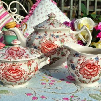 Johnson Bros. Rose Chintz Teapot, Milk Jug and Sugar Bowl Tea Set