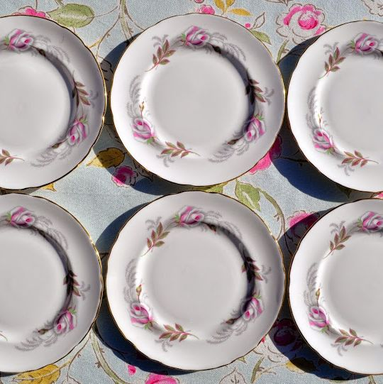 Paragon Pastel Pink Roses Set of Six Fine Bone China Vintage Tea Plates