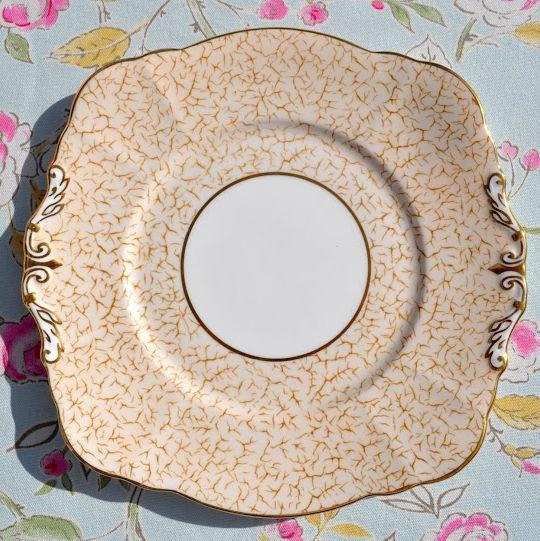 Paragon Cream Crackle Glaze Fine Bone China Vintage Cake Plate c.1952+