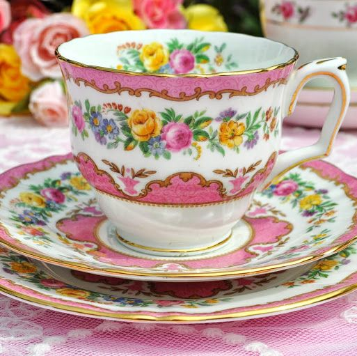 Crown Staffordshire Tunis Pink Vintage Bone China Teacup Trio c.1930's