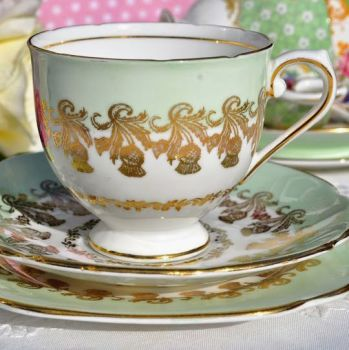 Stanley China Pale Green and Gold Thistle Pattern Vintage Tea Trio